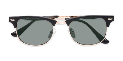 Folded of Logan #6767 in Black/Gold Frame with Green Lenses