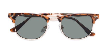 Folded of Logan #6767 in Tortoise/Gold Frame with Green Lenses