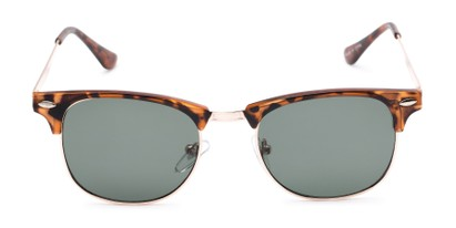 Front of Logan #6767 in Tortoise/Gold Frame with Green Lenses