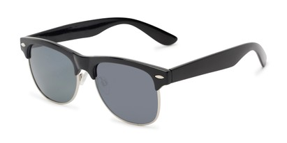 Angle of Loggerhead #8391 in Black/Silver Frame with Grey Lenses, Women's and Men's Browline Sunglasses