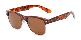 Angle of Loggerhead #8391 in Tortoise/Gold Frame with Amber Lenses, Women's and Men's Browline Sunglasses