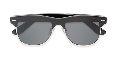 Folded of Loggerhead #8391 in Black/Silver Frame with Grey Lenses