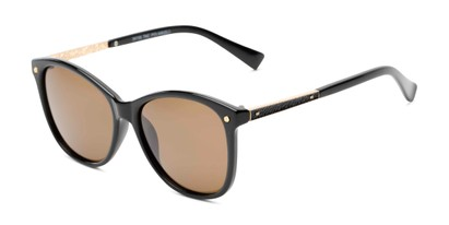 Angle of Lorelai #34155 in Black Frame with Amber Lenses, Women's Cat Eye Sunglasses