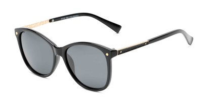 Angle of Lorelai #34155 in Black Frame with Smoke Lenses, Women's Cat Eye Sunglasses