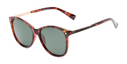 Angle of Lorelai #34155 in Brown Tortoise with Green Lenses, Women's Cat Eye Sunglasses