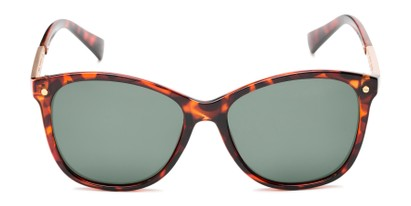 Front of Lorelai #34155 in Brown Tortoise with Green Lenses