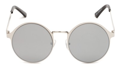 Front of Banks #9157 in Silver Frame with Silver Mirrored Lenses