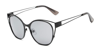 Angle of Bianca by Foster Grant in Black Frame with Smoke Lenses, Women's Cat Eye Sunglasses