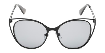 Front of Bianca by Foster Grant in Black Frame with Smoke Lenses