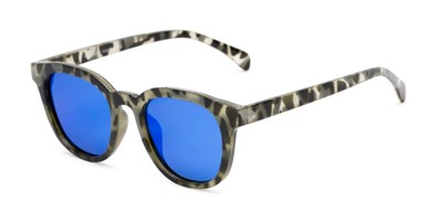 Angle of Mac in Grey Tortoise Frame with Blue Mirrored Lenses, Women's and Men's Retro Square Sunglasses