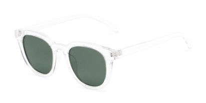 Angle of Mac in Clear Frame with Green Lenses, Women's and Men's Retro Square Sunglasses