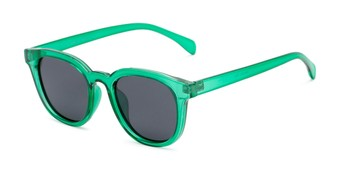 Angle of Mac #2030 in Clear Green Frame with Grey Lenses, Women's and Men's Retro Square Sunglasses