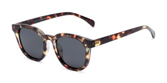 Angle of Mac in Tortoise Frame with Grey Lenses, Women's and Men's Retro Square Sunglasses