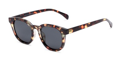 Angle of Mac #2030 in Tortoise Frame with Grey Lenses, Women's and Men's Retro Square Sunglasses