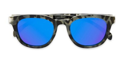 Folded of Mac in Grey Tortoise Frame with Blue Mirrored Lenses
