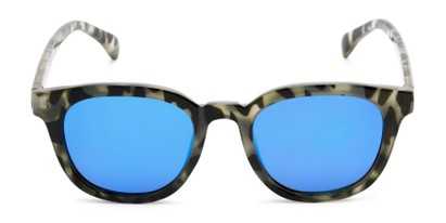 Front of Mac in Grey Tortoise Frame with Blue Mirrored Lenses