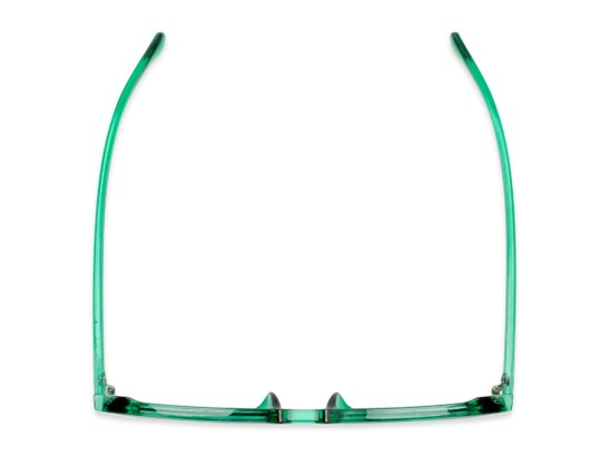 Overhead of Mac in Clear Green Frame with Grey Lenses
