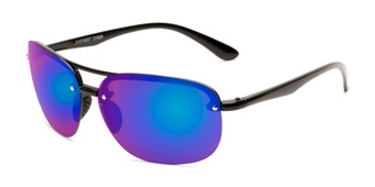 Angle of Madagascar #51571 in Glossy Black Frame with Blue Mirrored Lenses, Men's Aviator Sunglasses