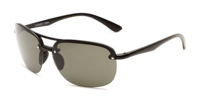 Angle of Madagascar #51571 in Matte Black Frame with Green Lenses, Men's Aviator Sunglasses