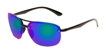 Angle of Madagascar #51571 in Glossy Black Frame with Blue/Green Mirrored Lenses, Men's Aviator Sunglasses