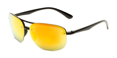 Angle of Madagascar #51571 in Glossy Black Frame with Orange/Red Mirrored Lenses, Men's Aviator Sunglasses