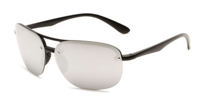 Angle of Madagascar #51571 in Matte Black Frame with Silver Mirrored Lenses, Men's Aviator Sunglasses