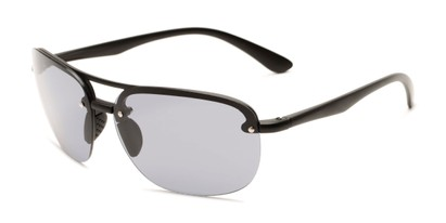 Angle of Madagascar #51571 in Matte Black Frame with Smoke Lenses, Men's Aviator Sunglasses