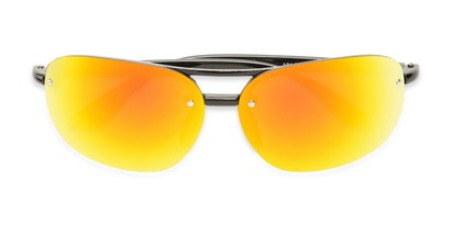 Folded of Madagascar #51571 in Glossy Black Frame with Orange/Red Mirrored Lenses