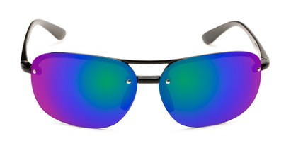 Front of Madagascar #51571 in Glossy Black Frame with Blue/Green Mirrored Lenses