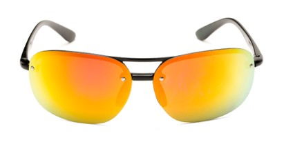 Front of Madagascar #51571 in Glossy Black Frame with Orange/Red Mirrored Lenses