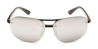 Front of Madagascar #51571 in Matte Black Frame with Silver Mirrored Lenses