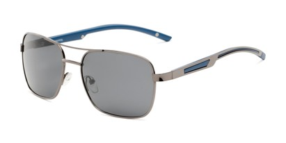 Angle of Manitoba #16287 in Grey/Blue Frame with Smoke Lenses, Men's Aviator Sunglasses