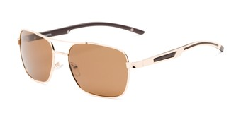 Angle of Manitoba #16287 in Gold/Brown Frame with Amber Lenses, Men's Aviator Sunglasses