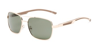 Angle of Manitoba #16287 in Gold/Tan Frame with Green Lenses, Men's Aviator Sunglasses