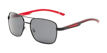 Angle of Manitoba #16287 in Black/Red Frame with Smoke Lenses, Men's Aviator Sunglasses