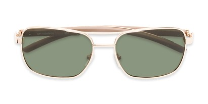 Folded of Manitoba #16287 in Gold/Tan Frame with Green Lenses