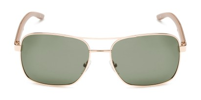 Front of Manitoba #16287 in Gold/Tan Frame with Green Lenses