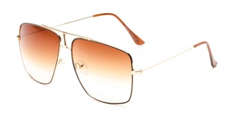 Angle of Maple #2124 in Gold/Brown Frame with Amber Gradient Lenses, Women's and Men's Aviator Sunglasses