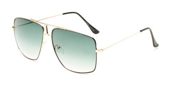 Angle of Maple #2124 in Gold/Black Frame with Green Gradient Lenses, Women's and Men's Aviator Sunglasses