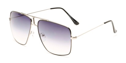 Angle of Maple #2124 in Silver/Black Frame with Smoke Gradient Lenses, Women's and Men's Aviator Sunglasses