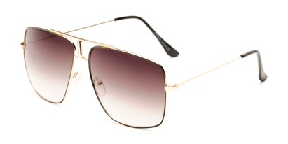 Angle of Maple #2124 in Gold/Black Frame with Smoke Gradient Lenses, Women's and Men's Aviator Sunglasses