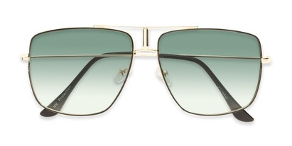 Folded of Maple #2124 in Gold/Black Frame with Green Gradient Lenses