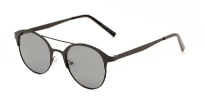 Angle of Marblehead #15731 in Black Frame with Smoke Lenses, Women's and Men's Browline Sunglasses