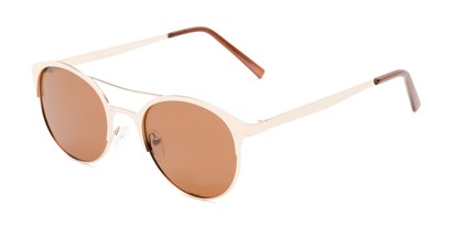 Angle of Marblehead #15731 in Gold Frame with Amber Lenses, Women's and Men's Browline Sunglasses
