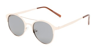 Angle of Marblehead #15731 in Gold Frame with Smoke Lenses, Women's and Men's Browline Sunglasses