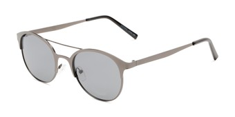Angle of Marblehead #15731 in Grey Frame with Smoke Lenses, Women's and Men's Browline Sunglasses
