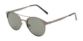 Angle of Marblehead #15731 in Grey Frame with Green Lenses, Women's and Men's Browline Sunglasses