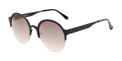 Angle of Margot #3833 in Black Frame with Smoke Mirrored Lenses, Women's Round Sunglasses