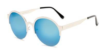 Angle of Margot #3833 in Silver Frame with Ice Blue Mirrored Lenses, Women's Round Sunglasses