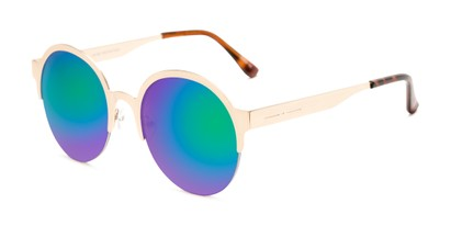 Angle of Margot #3833 in Gold Frame with Blue/Green Mirrored Lenses, Women's Round Sunglasses